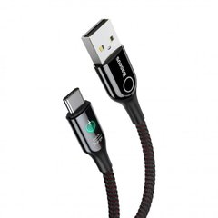 USB кабель Baseus C-shaped Light Intelligent Power-off For Type-C 3A/1m. Black