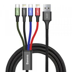USB кабель Baseus Fast 4-in-1 Cable For lightning(2)+Type-C+Micro 3.5A 1.2M Black