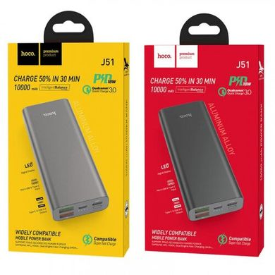 Power Bank Hoco J51 Cool Power Widely Compatible 10.000mAh/18W/QC/PD Metal Grey