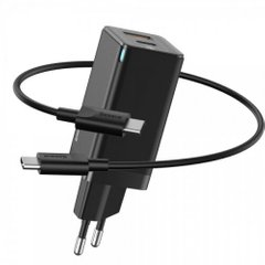 СЗУ Baseus GaN2 Quick Charger C+U 45W EU(With Mini Cable Type-C to Type-C 60W 20V/3A 1m Black